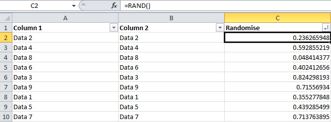 How-To-Randomise-Rows-In-Excel
